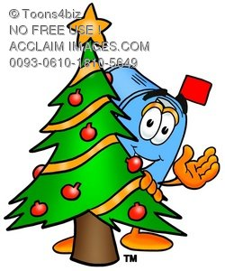 Mail Box Cartoon Character With a Christmas Tree