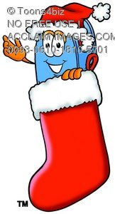 Mail Box Cartoon Character In a Christmas Stocking