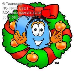 Mail Box Cartoon Character With a Christmas Wreath