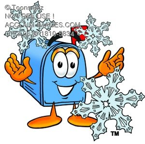 Mail Box Cartoon Character With Snowflakes