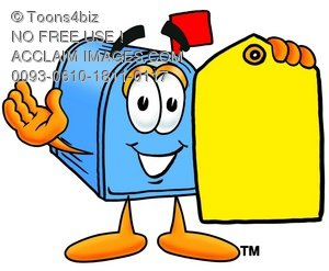 Mail Box Cartoon Character Holding a Yellow Price Tag