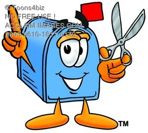 Mail Box Cartoon Character Holding Scissors