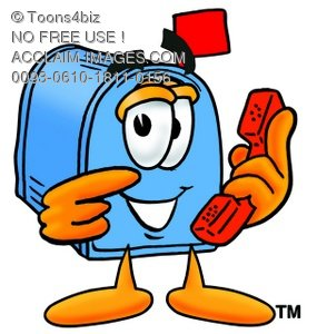 Mail Box Cartoon Character Holding a Phone