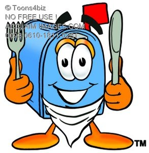 Mail Box Cartoon Character With Eating Utensils