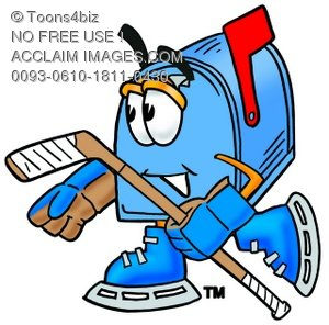 Mail Box Cartoon Character Playing Ice Hockey