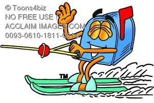 Mail Box Cartoon Character Water Skiing