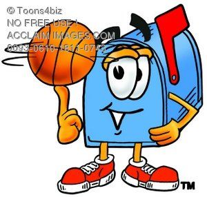 Mail Box Cartoon Character Spinning a Basketball