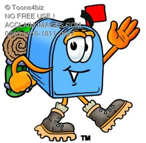 Mail Box Cartoon Character Hiking