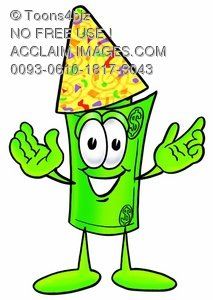 Rolled Money Cartoon Character Wearing a Party Hat