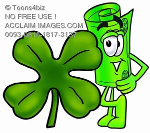 Rolled Money Cartoon Character With a Four Leaf Clover