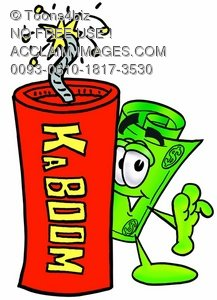 Rolled Money Cartoon Character With a Stick of Dynamite