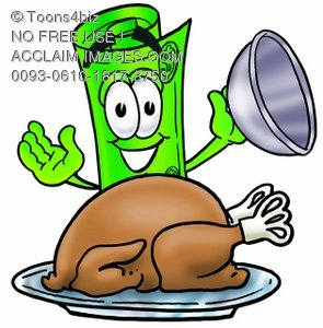 Rolled Money Cartoon Character Serving a Thanksgiving Turkey