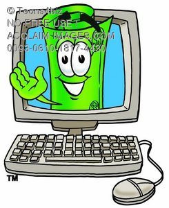 Rolled Money Cartoon Character In a Computer Screen