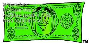Rolled Money Cartoon Character on Money