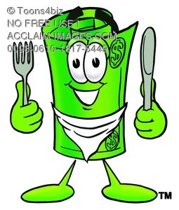 Rolled Money Cartoon Character With Eating Utensils