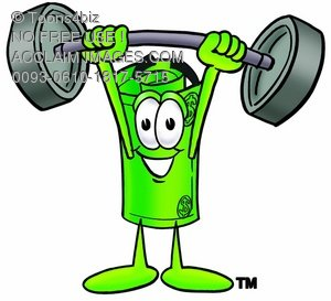 Rolled Money Cartoon Character Lifting Weights