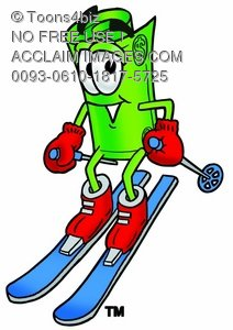 Rolled Money Cartoon Character Skiing