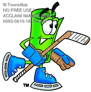 Rolled Money Cartoon Character Playing Ice Hockey