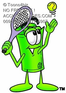 Rolled Money Cartoon Character Playing Tennis