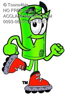Rolled Money Cartoon Character Roller Blading