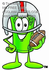 Rolled Money Cartoon Character Playing Football