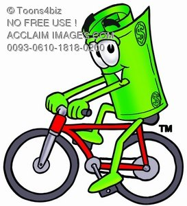 Rolled Money Cartoon Character Riding a Bike