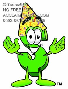 Dollar Sign Cartoon Character Wearing a Party Hat