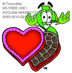 Dollar Sign Cartoon Character With Valentines Candies