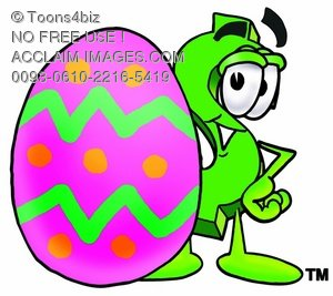 Dollar Sign Cartoon Character With an Easter Egg