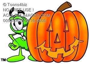 Dollar Sign Cartoon Character With a Halloween Pumpkin