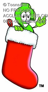 Dollar Sign Cartoon Character In a Christmas Stocking