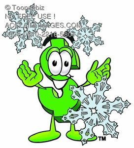 Dollar Sign Cartoon Character With Snowflakes