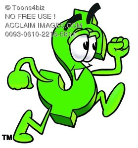 Dollar Sign Cartoon Character Running