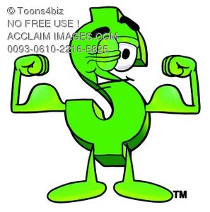 Dollar Sign Cartoon Character Flexing His Muscles