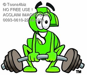Dollar Sign Cartoon Character Lifting Weights