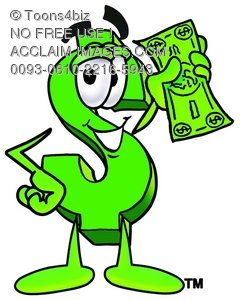 Dollar Sign Cartoon Character Holding Cash