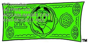 Dollar Sign Cartoon Character on Money