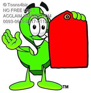Dollar Sign Cartoon Character Holding a Red Price Tag