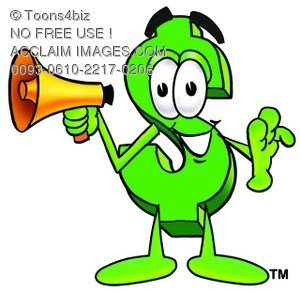 Dollar Sign Cartoon Character Holding a Megaphone
