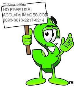 Dollar Sign Cartoon Character Holding a Blank Sign