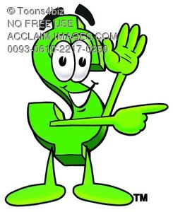 Dollar Sign Cartoon Character Giving Directions