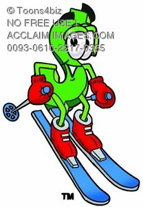 Dollar Sign Cartoon Character Skiing