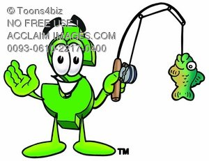 Dollar Sign Cartoon Character Fishing
