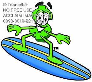 Dollar Sign Cartoon Character Surfing