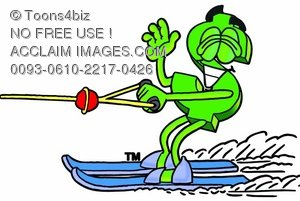 Dollar Sign Cartoon Character Water Skiing