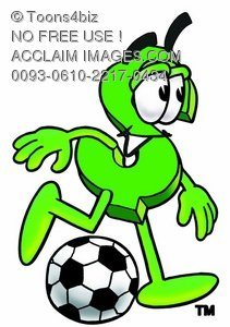 Dollar Sign Cartoon Character Playing Soccer