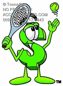 Dollar Sign Cartoon Character Playing Tennis