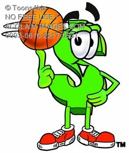 Dollar Sign Cartoon Character Spinning a Basketball
