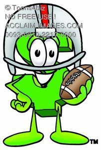 Dollar Sign Cartoon Character Playing Football