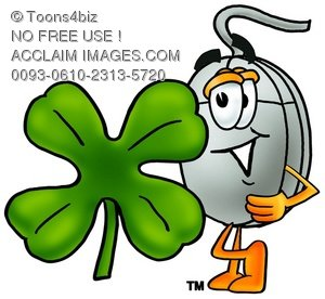 Computer Mouse Cartoon Character With a Four Leaf Clover
